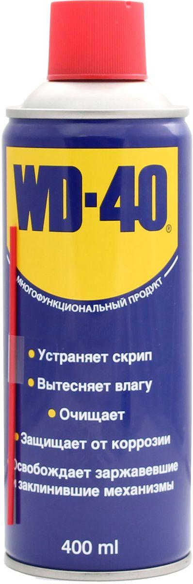 Смазка универсальная WD-40, 400 мл34604Средство помогает деталям и механизмам работать исправно и эффективно. Устраняет скрип, вытесняет влагу с металлических поверхностей, очищает от смолы, клея, жира, оставляет защитную пленку против коррозии. Проникает в ржавчину и освобождает болты и гайки, смазывает движущие части механизмов.