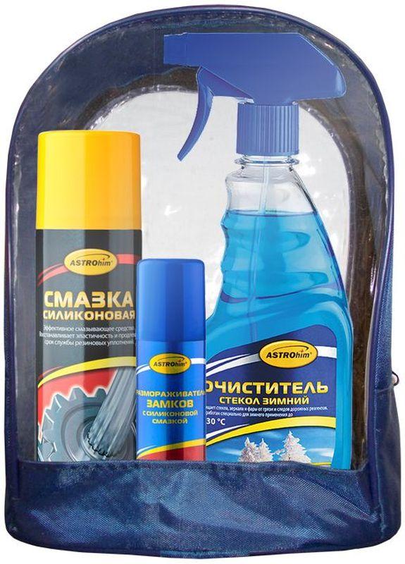 Набор автохимии ASTROhim: очиститель стекол, силиконовая смазка, размораживатель замков с силиконовой смазкойАс-512В набор автохимии ASTROhim входят:- Размораживатель замков ASTROhim с силиконовой смазкой - это превосходное средство для размораживания автомобильных и бытовых замков любых типов. Для предотвращения замерзания личинок замков рекомендуется проводить обработку после каждой мойки автомобиля. - Смазка силиконовая ASTROhim предназначена для ухода за механическими соединениями в автомобиле (замки и петли дверей, капота, багажника, стеклоподъемники, тросы, личинки замков, приводы и направляющие). Предохраняет от коррозии, устраняет неприятные скрипы. Незаменимое средство для обслуживания промышленного оборудования (для смазывания пресс-форм при производстве пластиковых и резиновых изделий, для обработки фильер в производстве химических волокон). Помогает избежать примерзания и растрескивания резиновых уплотнений дверей, багажника, капота в условиях отрицательных температур. Защищает систему зажигания от проникновения влаги и утечки тока. Профессиональная концентрированная формула образует на поверхности сплошной полимерный слой силикона с высокими смазывающими и водоотталкивающими свойствами в широком интервале температур (от -40°С до +170°С). Смазка способна оставаться на поверхности после многочисленных моек и при частом перепаде температур. - Зимний очиститель стекол ASTROhim разработан специально для применения при низких температурах (до -30°С). Идеально очищает стекла, зеркала и фары от грязи, пленки от выхлопных газов и следов дорожных реагентов. Удаляет загрязнения, покрытые изморозью или тонкой ледяной коркой. Действует мгновенно, придавая стеклам блеск без разводов и максимальную прозрачность. Улучшает обзорность и повышает безопасность движения. Безвреден для лакокрасочного покрытия, хромированных, пластиковых и резиновых поверхностей. Такой набор можно преподнести в качестве подарка как мужчине, так и женщине-автомобилисту по любому праздничному п