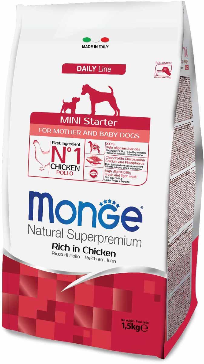 Корм сухой Monge Dog Mini Starter, для щенков мелких пород, 1,5 кг70004008Полноценный сбалансированный рацион для щенков средних пород периода начала прикорма. Корм отлично усваивается и способствует правильному развитию щенка. Корм также рекомендуется во время беременности и лактации. Анализ компонентов: сырой белок 32,00%, сырые масла и жиры 22,00%, сырая клетчатка 1,50%, сырая зола 7,00%, кальций 1,70%, фосфор 1,10%, омега-6 жирные кислоты 7,00%, омега-3 жирные кислоты 0,80%.Пищевые добавки/кг: витамин А 26000 МЕ, витамин D3 1900 МЕ, витамин Е 135 мг, витамин В1 10 мг, витамин В2 13 мг, витамин В6 6 мг, витамин В12 122 мг, биотин 16 мг, ниацин 25 мг, витамин С 180 мг, пантотеновая кислота 15 мг, фолиевая кислота 1,50 мг, холина хлорид 3200 мг, инозитол 3,00 мг, сульфат марганца моногидрат 103 мг (марганец 35 мг), Е6 оксид цинка 155 мг, Е4 сульфат меди пентагидрат 13 мг, Е1 сульфат железа моногидрат 110 мг, Е8 селенит натрия 0,22 мг, Е2 безводный йодат кальция 1,75 мг, L-карнитин 140 мг, DL-метионин 7,70 г. Технологические добавки/кг: натуральная смесь из токоферола и экстракта розмарина обыкновенного. Энергетическая ценность: 4440 ккал/кг.Ингредиенты: курица (30% дегидрированного и 10% свежего мяса), рис, животный жир (куриный жир 99,5%, консервированный с помощью натуральных антиоксидантов), сухая свекольная пульпа, гидролизованный белок куриной печени, кукуруза, пивные дрожжи (источник МОС и витамина B12), овес (источник ценных пищевых волокон), сухое цельное яйцо (с высоким содержанием ценных белков), рыба (дегидрированный лосось), рыбий жир (масло лосося), КОС (ксилоолигосахариды 3г/кг), гидролизованные дрожжи (источник МОС), юкка Шидигера, спирулина, гидролизованные хрящи (источник хондроитина сульфата), гидролизованные ракообразные (источник глюкозамина), метилсульфонилметан.