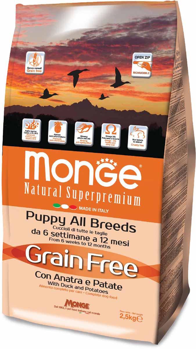 Корм сухой Monge Dog Grain Free, для щенков, беззерновой, с уткой и картофелем, 2,5 кг70004787Полнорационный корм для щенков всех пород с уткой и картофелем, не содержит зерновых культур.Это питательный, высокоусваиваемый корм с высокой вкусовой привлекательностью.Оптимальное соотношение Омега-3 и Омега-6 жирных кислот обеспечивает блестящую шерсть и здоровую кожу питомца. Входящий в состав женьшень повышает общую сопротивляемость организма.Содержит глюкозамин и хондроитин для поддержания здоровья суставов и оптимального развития скелета. Щенок будет расти сильным и здоровым.Продукт не содержит красителей и консервантов.Анализ компонентов: сырой белок 29,00%, сырые масла и жиры 18,00%, сырая клетчатка 2,00%, сырая зола 7,50%, кальций 1,50%, фосфор 1,00%, омега-6 жирные кислоты 3,75%, омега-3 жирные кислоты 1,10%. Пищевые добавки/кг: витамин А (как ретинола ацетат) 26000 МЕ, витамин D3 (как холекальциферол) 1700 МЕ, витамин Е (альфа-токоферол ацетат) 150 мг, витамин B1 (тиамина нитрат) 12 мг, витамин B2 (рибофлавин) 15 мг, витамин B6 (пиридоксинагидрохлорид) 7 мг, витамин B12 140 мг, витамин H (биотин) 19 мг, витамин PP (ниацин) 90 мг, витамин C 180 мг, пантотеновая кислота 20 мг, фолиевая кислота 2,30 мг, холина хлорид 2900 мг, инозитол 3,30 мг, сульфат марганца моногидрат 103 мг (марганец 35 мг), оксид цинка 205 мг (цинк 155 мг), сульфат меди пентагидрат 50 мг (меди 13 мг), сульфат железа моногидрат 370 мг (железа 110 мг), селенит натрия 0,50 мг (селен 0,22 мг), безводный йодат кальция 2,60 мг (йод 1,75 мг). Аминокислоты/кг: L-карнитин 50%: 110 мг, DL-метионин 7 г. Технологические добавки/кг: МСМ (метилсульфонилметан) 500 мг, глюкозамин 500 мг, хондроитина сульфат 300 мг. Антиоксиданты: экстракт розмарина. Энергетическая ценность: 4 200 Ккал/кг.Состав: мясо утки (из которого 18% дегидрированного, 14% свежего), картофель, утиное масло, концентрат картофельного белка, пивные дрожжи, сухое цельное яйцо, свекольная пульпа, масло лосося, гидролизованный белок утиной печ