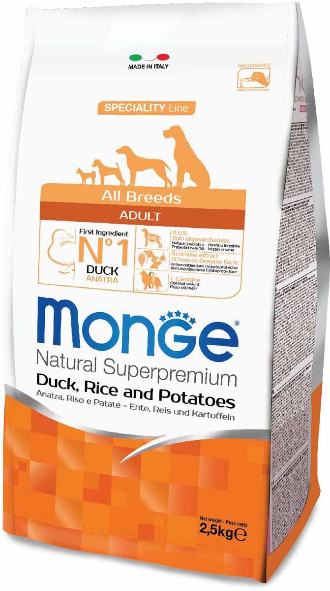 Корм сухой Monge Dog Speciality, для собак всех пород, с уткой, рисом и картофелем, 2,5 кг70011129Сбалансированное полнорационное питание для взрослых собак всех пород. Линейка сухих рационов со специально подобранными источниками белка линейка полноценных сбалансированных рационов для взрослых собак всех пород SECIALITY LINE предназначена для собак, склонных к аллергическим реакциям и расстройствам пищеварения. В состав продукта входят отборные гипоаллергенные источники белка животного происхождения, что позволяет легко исключить из рациона ингредиенты, вызывающие аллергию. Высокая усвояемость корма гарантирует поступление в организм оптимального количества питательных веществ, необходимых собакам с чувствительным пищеварением. Оптимальный баланс омега-6 и омега-3 жирных кислот снижает риск развития воспаления и гарантирует превосходное состояние кожного покрова. Содержание в корме биотина, цинка и высокого уровня линолевой кислоты придает шерсти питомца блеск. Анализ компонентов: сырой белок 25,00%, сырые масла и жиры 16,00%, сырая клетчатка 2,50%, сырая зола 7,00%, кальций 1,70%, фосфор 1,10%, омега-6 жирные кислоты 3,50%, омега-3 жирные кислоты 0,55%.Пищевые добавки/кг: витамин А 24000 МЕ, витамин D3 1700 МЕ, витамин Е 190 мг, витамин В1 12 мг, витамин В2 15 мг, витамин В6 7 мг, витамин В12 150 мг, биотин 20 мг, ниацин 30 мг, витамин С 200 мг, пантотеновая кислота 18 мг, фолиевая кислота 1,70 мг, холина хлорид 2500 мг, инозитол 3,60 мг, Е5 сульфат марганца моногидрат 32 мг, Е6 оксид цинка 150 мг, Е4 сульфат меди пентагидрат 13 мг, Е1 сульфат железа моногидрат 110 мг, Е8 селенит натрия 0,20 мг, Е2 йодат кальция 1,80 мг, L-карнитин 100 мг, DL-метионин 1,6г. Технологические добавки/кг: натуральная смесь из токоферола и экстракта розмарина обыкновенного. Органолептические добавки/кг: натуральный экстракт каштана 20 мг, экстракт артишока 300 мг. Энергетическая ценность: 4 100 ккал/кг. Состав: утка (30% дегидрированного и 10% свежего мяса), рис, картофельный белок, ку