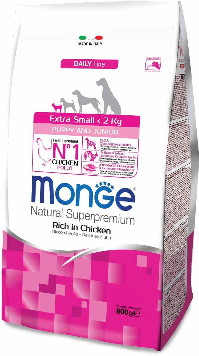 Корм сухой Monge Dog Extra Small, для щенков миниатюрных пород, с курицей, 800 г70011402Monge Dog Extra Small для щенков миниатюрных пород с курицей, 800 г.Полноценный сбалансированный рацион для щенков миниатюрных пород. Корм отлично усваивается и способствует правильному развитию щенка. Анализ компонентов: сырой белок 31,00%, сырые масла и жиры 18,00%, сырая клетчатка 2,00%, сырая зола 6,00%, кальций 1,50%, фосфор 1,20%, омега-6 жирные кислоты 7,00%, омега-3 жирные кислоты 0,70%.Пищевые добавки/кг: витамин А 26000 МЕ, витамин D3 1820 МЕ, витамин Е 200 мг, витамин В1 20 мг, витамин В2 25 мг, витамин В6 12 мг, витамин В12 240 мг, биотин 32 мг, ниацин 50 мг, витамин С 180 мг, пантотеновая кислота 30 мг, фолиевая кислота 2,80 мг, холина хлорид 3200 мг, инозитол 3,60 мг, Е5 сульфат марганца моногидрат 32 мг, Е6 оксид цинка 150 мг, Е4 сульфат меди пентагидрат 13 мг, Е1 сульфат железа моногидрат 110 мг, Е8 селенит натрия 0,20 мг, Е2 йодат кальция 1,80 мг, L-карнитин 150 мг, DL-метионин 7,40г.Технологические добавки/кг: натуральная смесь из токоферола и экстракта розмарина обыкновенного. Органолептические добавки/кг: натуральный экстракт каштана 20 мг, экстракт артишока 300 мг.Энергетическая ценность: 4250 ккал/кг.Ингредиенты: курица (32% дегидрированного и 10% свежего мяса), рис, кукуруза, животный жир (куриный жир 99,5%, консервированный с помощью натуральных антиоксидантов), сухая свекольная пульпа, пивные дрожжи (источник МОС и витамина B12), кукурузный глютен, картофельный белок,гидролизованный животный белок, овес (источник ценных пищевых волокон), сухое цельное яйцо (с высоким содержанием ценных белков), рыба (дегидрированный лосось), рыбий жир (масло лосося), КОС (ксилоолигосахариды 3г/кг),гидролизованные дрожжи (источник МОС), юкка Шидигера, спирулина,гидролизованные хрящи (источник хондроитина сульфата), гидролизованные ракообразные (источник глюкозамина), метилсульфонилметан, корень эхинацеи, орегано, порошок сушеного чеснока. Индивидуальная непереносимость. Ук