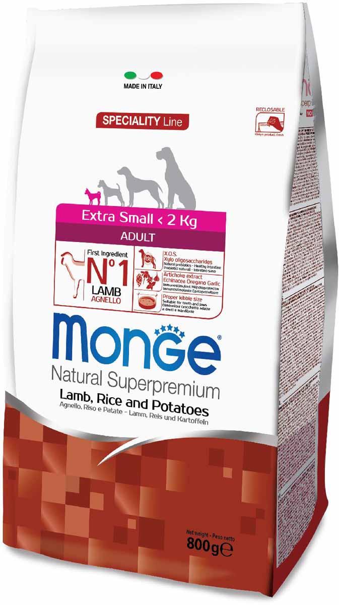 Корм сухой Monge Dog Speciality Extra Small, для взрослых собак миниатюрных пород, с ягненком, рисом и картофелем, 800 г70011471Полнорационный корм для взрослых собак миниатюрных пород идеально подходит для собак, нуждающихся в питании с низким содержанием холестерина. Ингредиенты, входящие в состав, помогают бороться с аллергическими реакциями и воспалениями и подходит для собак с проблемами пищеварения. Входящие в состав ФОС (фруктоолигосахариды) поддерживают здоровую микрофлору кишечника.Мясо ягненка и рис - это гарантия правильного усвоения белков и углеводов. Высокое содержание сбалансированных омега-3 и омега-6 жирных кислот, цинка и биотина обеспечивает блестящую шерсть и здоровую кожу питомца.Глюкозамин, хондроитин и МСМ благотворно влияют на здоровье суставов и всего костного аппарата, помогают предотвратить возникновение болезней суставов.Анализ компонентов: сырой белок 26,00%, сырые масла и жиры 15,00%, сырая клетчатка 2,50%, сырая зола 6,00%, кальций 1,20%, фосфор 0,80%, омега-6 жирные кислоты 6,40%, омега-3 жирные кислоты 0,70%.Пищевые добавки/кг: витамин А 23000 МЕ, витамин D3 1600 МЕ, витамин Е 200 мг, витамин В1 10 мг, витамин В2 13 мг, витамин В6 6 мг, витамин В12 125 мг, биотин 17 мг, ниацин 26 мг, витамин С 180 мг, пантотеновая кислота 15 мг, фолиевая кислота 1,40 мг, холина хлорид 2500 мг, инозитол 3,00 мг, Е5 сульфат марганца моногидрат 35 мг, Е6 оксид цинка 160 мг, Е4 сульфат меди пентагидрат 13 мг, Е1 сульфат железа моногидрат 110 мг, Е8 селенит натрия 0,22 мг, Е2 йодат кальция 1,80 мг, L-карнитин 105 мг, DL-метионин 7,30г. Технологические добавки/кг: натуральная смесь из токоферола и экстракта розмарина обыкновенного. Органолептические добавки/кг: натуральный экстракт каштана 20 мг, экстракт артишока 300 мг.Энергетическая ценность: 4 130 ккал/кг.Ингредиенты: ягненок (30% дегидрированного и 10% свежего мяса), рис, кукуруза, животный жир (куриный жир 99,5%, консервированный с помощью натуральных антиоксидантов), сухая свекольная пульпа, картофе