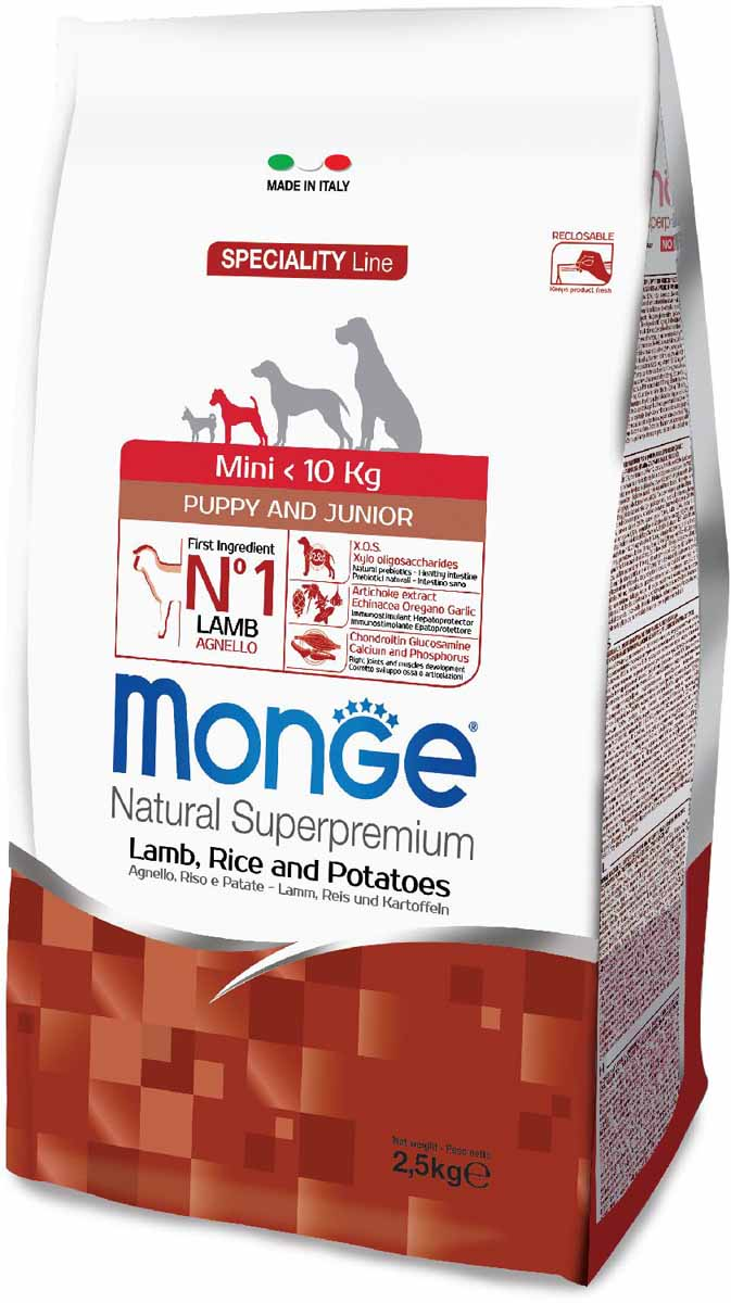 """Корм сухой Monge """"Dog Speciality Mini"""", для щенков мелких пород, с ягненком, рисом и картофелем, 2,5 кг"""