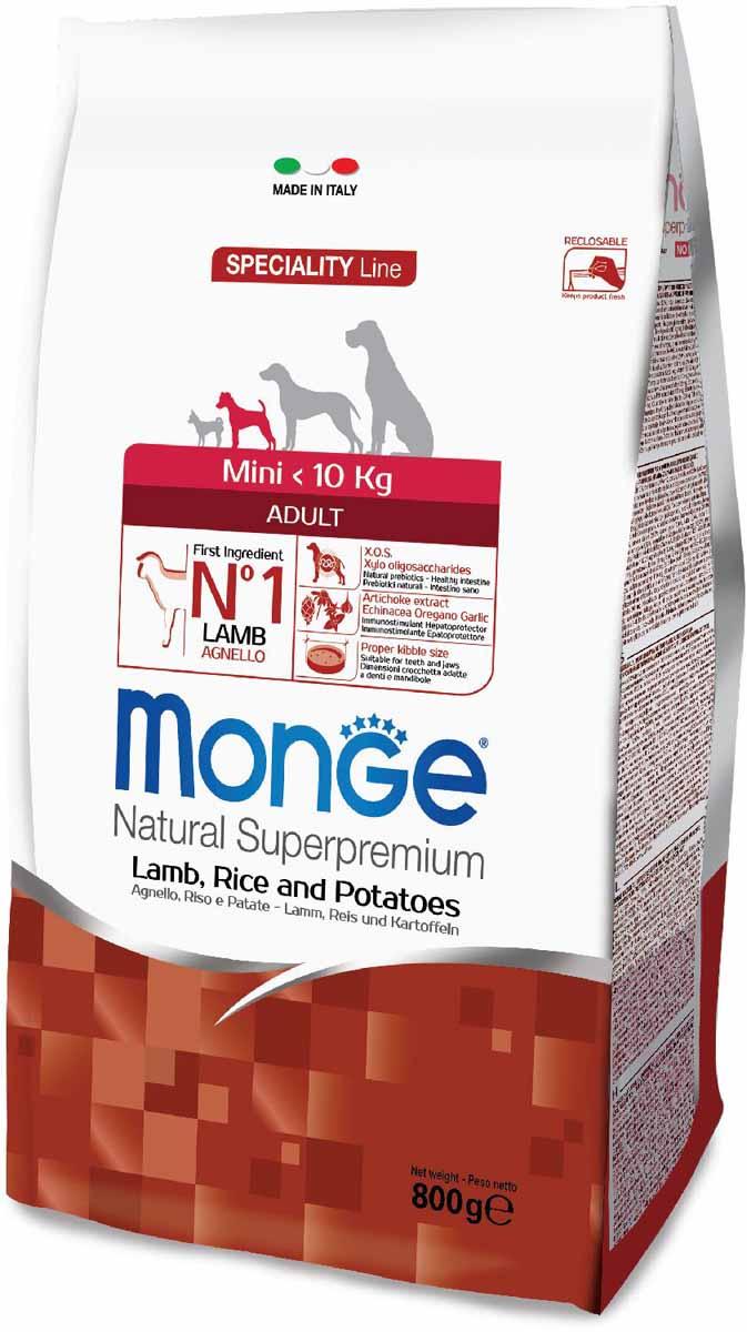 Корм сухой Monge Dog Speciality Mini, для взрослых собак мелких пород, с ягненком, рисом и картофелем, 800 г70011532Monge Dog Speciality корм для собак всех пород, ягненок с рисом и картофелем, 800 г.Полнорационный корм для взрослых собак всех пород с ягненком, рисом и картофелем. Идеально подходит для собак, нуждающихся в питании с низким содержанием холестерина. Ингредиенты, входящие в состав, помогают бороться с аллергическими реакциями и воспалениями и подходит для собак с проблемами пищеварения. Входящие в состав ФОС (фруктоолигосахариды) поддерживают здоровую микрофлору кишечника.Мясо ягненка и рис — это гарантия правильного усвоения белков и углеводов. Высокое содержание сбалансированных омега-3 и омега-6 жирных кислот, цинка и биотина обеспечивает блестящую шерсть и здоровую кожу питомца.Глюкозамин, хондроитин и МСМ благотворно влияют на здоровье суставов и всего костного аппарата, помогают предотвратить возникновение болезней суставов.Анализ компонентов: сырой белок 27,00%, сырые масла и жиры 14,00%, сырая клетчатка 2,50%, сырая зола 6,50%, кальций 1,70%, фосфор 1,10%, омега-6 жирные кислоты 3,50%, омега-3 жирные кислоты 0,50%.Пищевые добавки/кг: витамин А 24000 МЕ, витамин D3 1700 МЕ, витамин Е 190 мг, витамин В1 12 мг, витамин В2 15 мг, витамин В6 7 мг, витамин В12 150 мг, биотин 20 мг, ниацин 30 мг, витамин С 200 мг, пантотеновая кислота 18 мг, фолиевая кислота 1,70 мг, холина хлорид 2500 мг, инозитол 3,60 мг, Е5 сульфат марганца моногидрат 32 мг, Е6 оксид цинка 150 мг, Е4 сульфат меди пентагидрат 13 мг, Е1 сульфат железа моногидрат 110 мг, Е8 селенит натрия 0,20 мг, Е2 йодат кальция 1,80 мг, L-карнитин 100 мг, DL-метионин 1,60г. Технологические добавки/кг: натуральная смесь из токоферола и экстракта розмарина обыкновенного. Органолептические добавки/кг: натуральный экстракт каштана 20 мг, экстракт артишока 300 мг.Энергетическая ценность: 4 020 ккал/кг.Ингредиенты: ягненок (30% дегидрированного и 10% свежего мяса), рис, картофельный белок, кукуруза, суха