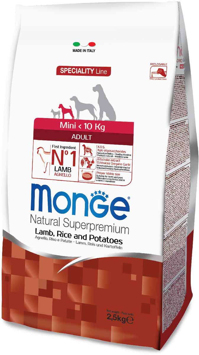 Корм сухой Monge Dog Speciality Mini, для взрослых собак мелких пород, с ягненком, рисом и картофелем, 2,5 кг70011549Monge Dog Speciality корм для собак всех пород, ягненок с рисом и картофелем, 2,5 г.Полнорационный корм для взрослых собак всех пород с ягненком, рисом и картофелем. Идеально подходит для собак, нуждающихся в питании с низким содержанием холестерина. Ингредиенты, входящие в состав, помогают бороться с аллергическими реакциями и воспалениями и подходит для собак с проблемами пищеварения. Входящие в состав ФОС (фруктоолигосахариды) поддерживают здоровую микрофлору кишечника.Мясо ягненка и рис - это гарантия правильного усвоения белков и углеводов. Высокое содержание сбалансированных омега-3 и омега-6 жирных кислот, цинка и биотина обеспечивает блестящую шерсть и здоровую кожу питомца.Глюкозамин, хондроитин и МСМ благотворно влияют на здоровье суставов и всего костного аппарата, помогают предотвратить возникновение болезней суставов. Анализ компонентов: сырой белок 27,00%, сырые масла и жиры 14,00%, сырая клетчатка 2,50%, сырая зола 6,50%, кальций 1,70%, фосфор 1,10%, омега-6 жирные кислоты 3,50%, омега-3 жирные кислоты 0,50%.Пищевые добавки/кг: витамин А 24000 МЕ, витамин D3 1700 МЕ, витамин Е 190 мг, витамин В1 12 мг, витамин В2 15 мг, витамин В6 7 мг, витамин В12 150 мг, биотин 20 мг, ниацин 30 мг, витамин С 200 мг, пантотеновая кислота 18 мг, фолиевая кислота 1,70 мг, холина хлорид 2500 мг, инозитол 3,60 мг, Е5 сульфат марганца моногидрат 32 мг, Е6 оксид цинка 150 мг, Е4 сульфат меди пентагидрат 13 мг, Е1 сульфат железа моногидрат 110 мг, Е8 селенит натрия 0,20 мг, Е2 йодат кальция 1,80 мг, L-карнитин 100 мг, DL-метионин 1,60г. Технологические добавки/кг: натуральная смесь из токоферола и экстракта розмарина обыкновенного. Органолептические добавки/кг: натуральный экстракт каштана 20 мг, экстракт артишока 300 мг.Энергетическая ценность: 4 020 ккал/кг.Ингредиенты: ягненок (30% дегидрированного и 10% свежего мяса), рис, картофельный белок, кукуруза, су