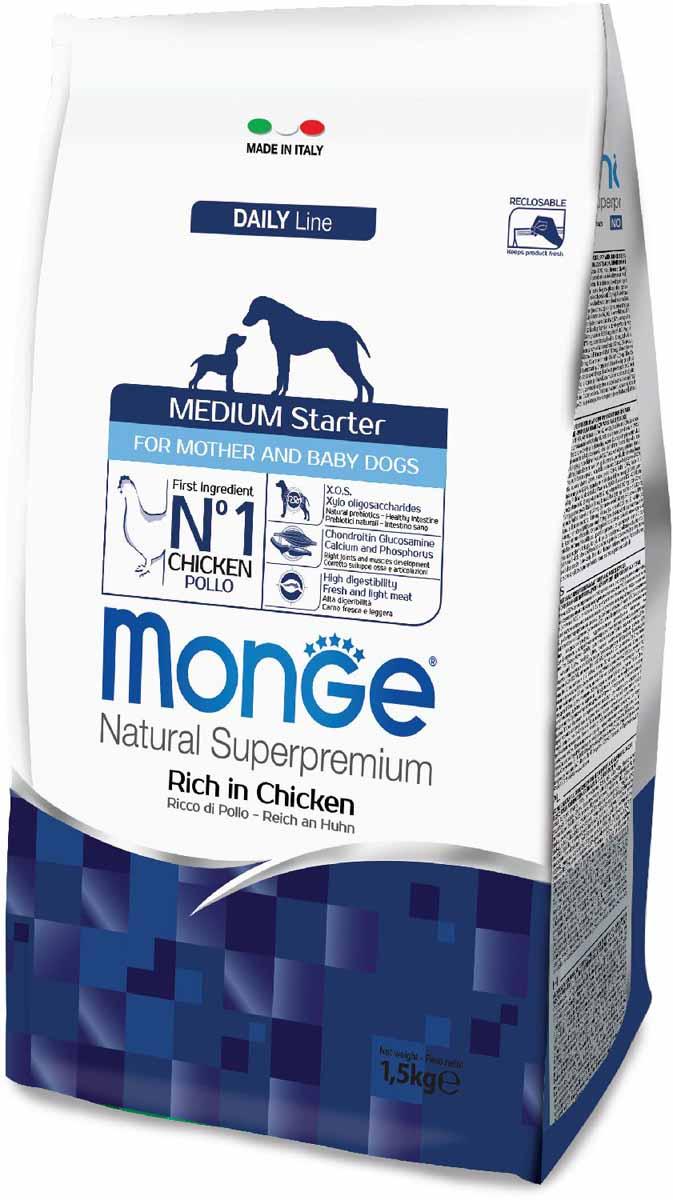 Корм сухой Monge Dog Medium Starter, для щенков средних пород, 1,5 кг70011600Monge Dog Medium Starter корм для щенков средних пород, 1,5 кг.Полноценный сбалансированный рацион для щенков средних пород в период начала прикорма. Корм отлично усваивается и способствует правильному развитию щенка. Корм также рекомендуется во время беременности и лактации.Повышенное содержание белка и жиров для правильного развития щенка. Корм с высоким содержанием белка и жиров специально разработан с учетом особенностей быстрого метаболизма у щенков. Высокое содержание животного белка способствует правильному формированию мышечных тканей организма.Глюкозамин, хондроитин, кальций и фосфор для здоровья суставов. Эти вещества в составе корма способствуют формированию здоровой хрящевой ткани и развитию опорно-двигательного аппарата.Высококачественное свежее мясо способствуют наиболее оптимальному пищеварению и усвоению питательных веществ, которые помогают формировать и поддерживать мускулатуру и активность животного.Содержание X.O.S. помогает сохранить естественный баланс кишечной микрофлоры, способствует оптимальному усвоению питательных веществ и повышает иммунитет.Анализ компонентов: сырой белок 31,00%, сырые масла и жиры 22,00%, сырая клетчатка 1,50%, сырая зола 7,00%, кальций 1,70%, фосфор 1,10%, омега-6 жирные кислоты 7,00%, омега-3 жирные кислоты 0,80%.Пищевые добавки/кг: витамин А 26000 МЕ, витамин D3 1900 МЕ, витамин Е 135 мг, витамин В1 10 мг, витамин В2 13 мг, витамин В6 6 мг, витамин В12 122 мг, биотин 16 мг, ниацин 25 мг, витамин С 180 мг, пантотеновая кислота 15 мг, фолиевая кислота 1,50 мг, холина хлорид 3200 мг, инозитол 3,00 мг, сульфат марганца моногидрат 103 мг (марганец 35 мг), Е6 оксид цинка 155 мг, Е4 сульфат меди пентагидрат 13 мг, Е1 сульфат железа моногидрат 110 мг, Е8 селенит натрия 0,22 мг, Е2 безводный йодат кальция 1,75 мг, L-карнитин 140 мг, DL-метионин 7,70г. Технологические добавки/кг: натуральная смесь из токоферола и экстракта розмарина обыкновенного. Эне