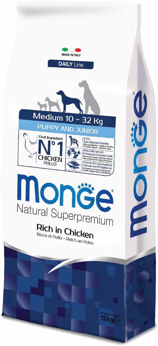 Корм сухой Monge Dog Medium, для щенков средних пород, 12 кг70011662Monge Dog Medium корм для щенков средних пород, 12 кг. Полнорационный корм для собак на основе мяса цыпленка и риса. Рекомендуется для щенков и молодых собак средних размеров возрастом до 12 месяцев, а также для беременных и кормящих самок. Анализ компонентов: сырой белок 29,00%, сырые масла и жиры 18,00%, сырая клетчатка 2,00%, сырая зола 7,50%, кальций 1,50%, фосфор 1,00%, омега-6 жирные кислоты 5,20%, омега-3 жирные кислоты 0,80%.Пищевые добавки/кг: витамин А 26000 МЕ, витамин D3 1820 МЕ, витамин Е 200 мг, витамин В1 20 мг, витамин В2 25 мг, витамин В6 12 мг, витамин В12 240 мг, биотин 32 мг, ниацин 50 мг, витамин С 175 мг, пантотеновая кислота 30 мг, фолиевая кислота 2,8 мг, холина хлорид 3200 мг, инозитол 6,00 мг, Е5 сульфат марганца моногидрат 32 мг, Е6 оксид цинка 150 мг, Е4 сульфат меди пентагидрат 13 мг, Е1 сульфат железа моногидрат 110 мг, Е8 селенит натрия 0,20 мг, Е2 безводный йодат кальция 1,80 мг, L-карнитин 140 мг, DL-метионин 7,20г. Технологические добавки/кг: натуральная смесь из токоферола и экстракта розмарина обыкновенного. Органолептические добавки/кг: натуральный экстракт каштана 20 мг, экстракт артишока 300 мг.Энергетическая ценность: 4 200 ккал/кг.Ингредиенты: курица (32% дегидрированного и 10% свежего мяса), рис, кукуруза, животный жир (куриный жир 99,5%, консервированный с помощью натуральных антиоксидантов), сухая свекольная пульпа, пивные дрожжи (источник МОС и витамина B12), кукурузнаяглютеновая мука, гидролизованный животный белок, овес (источник ценных пищевых волокон), сухое цельное яйцо (с высоким содержанием ценных белков), рыба (дегидрированный лосось), рыбий жир (масло лосося), КОС (ксилоолигосахариды 3г/кг), гидролизованные дрожжи (источник МОС), юкка Шидигера, спирулина, гидролизованные хрящи (источник хондроитина сульфата), гидролизованные ракообразные (источник глюкозамина), метилсульфонилметан, корнень эхинацеи, орегано, порошок сушеного чеснока. Указания по 