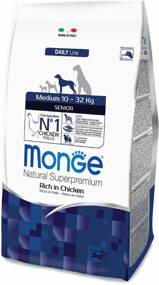 Корм сухой Monge Dog Medium, для пожилых собак средних пород, 3 кг70011679Monge Dog Medium корм для пожилых собак средних пород с курицей, 3 кг.Полноценный сбалансированный рацион для пожилых собак средних пород.Содержание X.O.S. помогает сохранить естественный баланс кишечной микрофлоры, способствует оптимальному усвоению питательных веществ и повышает иммунитет.Высококачественное свежее мясо способствует наиболее оптимальному пищеварению и усвоению питательных веществ, которые помогают формировать и поддерживать мускулатуру и активность животного.L-карнитин для улучшения обменных и энергетических процессов в мышцах. Активизирует жировой обмен, поддерживает нормальную работу сердца и печени, стимулирует регенерацию клеток. Способствует поддержанию оптимального веса животного.Омега-3 и омега-6 жирные кислоты для красоты шерсти и здоровья кожи. Оптимальный баланс омега-3 и омега-6 в составе корма чрезвычайно важен для поддержания кожи и шерсти в отличном состоянии.Анализ компонентов: сырой белок 26,00%, сырые масла и жиры 13,00%, сырая клетчатка 5,00%, сырая зола 6,50%, кальций 1,20%, фосфор 1,00%, омега-6 жирные кислоты 4,20%, омега-3 жирные кислоты 0,70%.Пищевые добавки/кг: витамин А 24000 МЕ, витамин D3 1600 МЕ, витамин Е 200 мг, витамин В1 11 мг, витамин В2 14 мг, витамин В6 6 мг, витамин В12 125 мг, биотин 17 мг, ниацин 26 мг, витамин С 200 мг, пантотеновая кислота 15 мг, фолиевая кислота 1,40 мг, холина хлорид 4000 мг, инозитол 3,00 мг, Е5 сульфат марганца моногидрат 35 мг, Е6 оксид цинка 160 мг, Е4 сульфат меди пентагидрат 13 мг, Е1 сульфат железа моногидрат 110 мг, Е8 селенит натрия 0,22 мг, Е2 йодат кальция 1,80 мг, L-карнитин 130 мг, DL-метионин 6,20 г. Технологические добавки/кг: натуральная смесь из токоферола и экстракта розмарина обыкновенного. Органолептические добавки/кг: натуральный экстракт каштана 20 мг.Энергетическая ценность: 3 870 ккал/кг.Ингредиенты: курица (30% дегидрированного и 10% свежего мяса), рис, овес (источник ценных пищевых волокон), 
