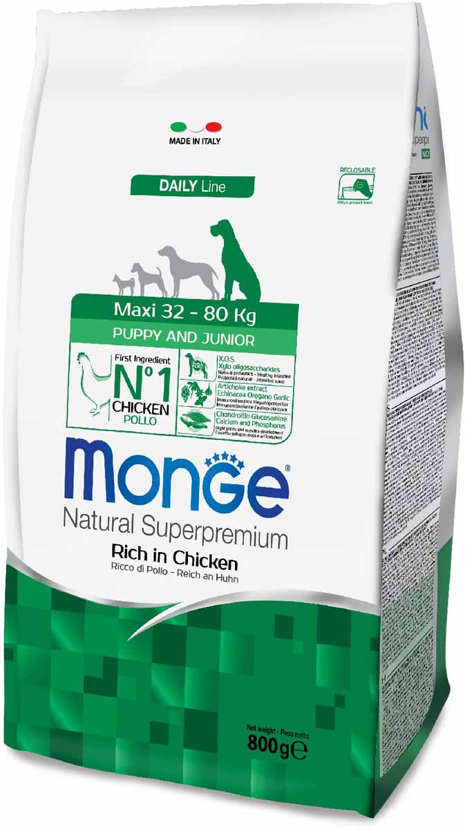 Корм сухой Monge Dog Maxi, для щенков крупных пород, 800 г70011693Monge Dog Maxi корм для щенков крупных пород, 800 г.Полнорационный корм для собак на основе мяса цыпленка и риса. Рекомендуется для щенков и молодых собак крупных пород возрастом от 2 до 12 месяцев, а также для беременных и кормящих самок. Анализ компонентов: сырой белок 28,00%, сырые масла и жиры 16,00%, сырая клетчатка 2,00%, сырая зола 7,00%, кальций 1,50%, фосфор 1,10%, омега-6 жирные кислоты 6,50%, омега-3 жирные кислоты 0,90%.Пищевые добавки/кг: витамин А 26000 МЕ, витамин D3 1820 МЕ, витамин Е 200 мг, витамин В1 20 мг, витамин В2 25 мг, витамин В6 12 мг, витамин В12 240 мг, биотин 32 мг, ниацин 50 мг, витамин С 175 мг, пантотеновая кислота 30 мг, фолиевая кислота 2,80 мг, холина хлорид 3200 мг, инозитол 6,00 мг, Е5 сульфат марганца моногидрат 32 мг, Е6 оксид цинка 150 мг, Е4 сульфат меди пентагидрат 13 мг, Е1 сульфат железа моногидрат 110 мг, Е8 селенит натрия 0,20 мг, Е2 йодат кальция 1,80 мг, L-карнитин 140 мг, DL-метионин 7,20г. Технологические добавки/кг: натуральная смесь из токоферола и экстракта розмарина обыкновенного. Органолептические добавки/кг: натуральный экстракт каштана 20 мг, экстракт артишока 300 мг.Энергетическая ценность: 4 150 ккал/кг.Ингредиенты: курица (32% дегидрированного и 10% свежего мяса), рис, кукуруза, животный жир (куриный жир 99,6%, консервированный с помощью натуральных антиоксидантов), сухая свекольная пульпа, пивные дрожжи (источник МОС и витамина B12), кукурузная глютеновая мука, гидролизованный животный белок, овес (источник ценных пищевых волокон), сухое цельное яйцо (с высоким содержанием ценных белков), рыба (дегидрированный лосось), рыбий жир (масло лосося), КОС (ксилоолигосахариды 3г/кг), гидролизованные дрожжи (источник МОС), юкка Шидигера, спирулина, гидролизованные хрящи (источник хондроитина сульфата), гидролизованные ракообразные (источник глюкозамина), метилсульфонилметан, корнень эхинацеи, орегано, порошок сушеного чеснока. Индивидуальная неперено