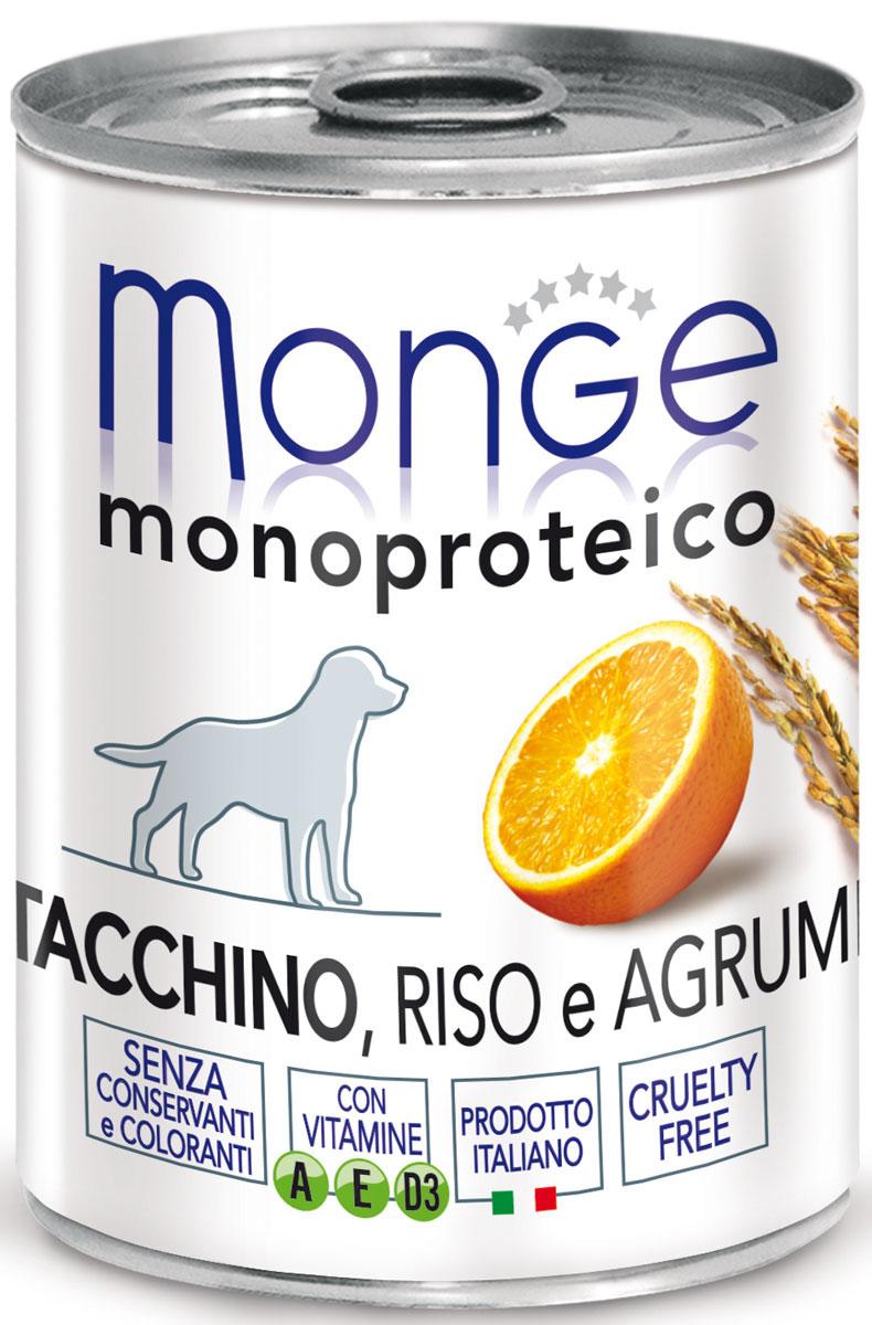 Консервы Monge Dog Monoproteico Fruits, для собак, паштет из индейки с рисом и цитрусовыми, 400 г70014335Monge Dog Monoproteico Fruits консервы для собак, паштет из индейки с рисом и цитрусовыми, 400 г.Полнорационный корм для собак. Паштет из индейки с рисом и цитрусовыми. Гарантированный анализ: сырой белок 8,1%, сырые масла и жиры 6,5%, сырая зола 2%, сырая клетчатка 0,8%, влажность 80%. Пищевые добавки/кг: витамин А 2500 МЕ, витамин D3 300 МЕ, витамин Е (альфа-токоферол 91%) 7 мг.Ингредиенты: свежее мясо индейки 100%, злаки (рис 4,2%), сухой экстракт апельсина (0,5%), минеральные вещества, витамины.Технологические добавки: загустители и желеобразующие компоненты. Не содержит красителей, консервантов иглютена. Рекомендации по кормлению: собакам мелких пород необходимо около 400 г продукта в день. Количество корма может варьироваться в зависимости от индивидуальных потребностей животного. Продукт подавать комнатной температуры или подогретый. Важно, чтобы животное всегда имело доступ к чистой, свежей воде. Открытую упаковку хранить в холодильнике.