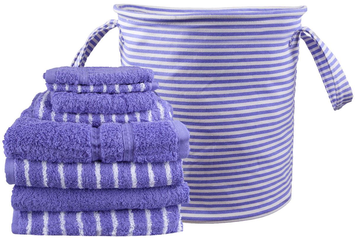 Набор полотенец Miolla, с сумкой, цвет: фиолетовый, белый, 9 предметов miolla набор полотенец в корзине горох
