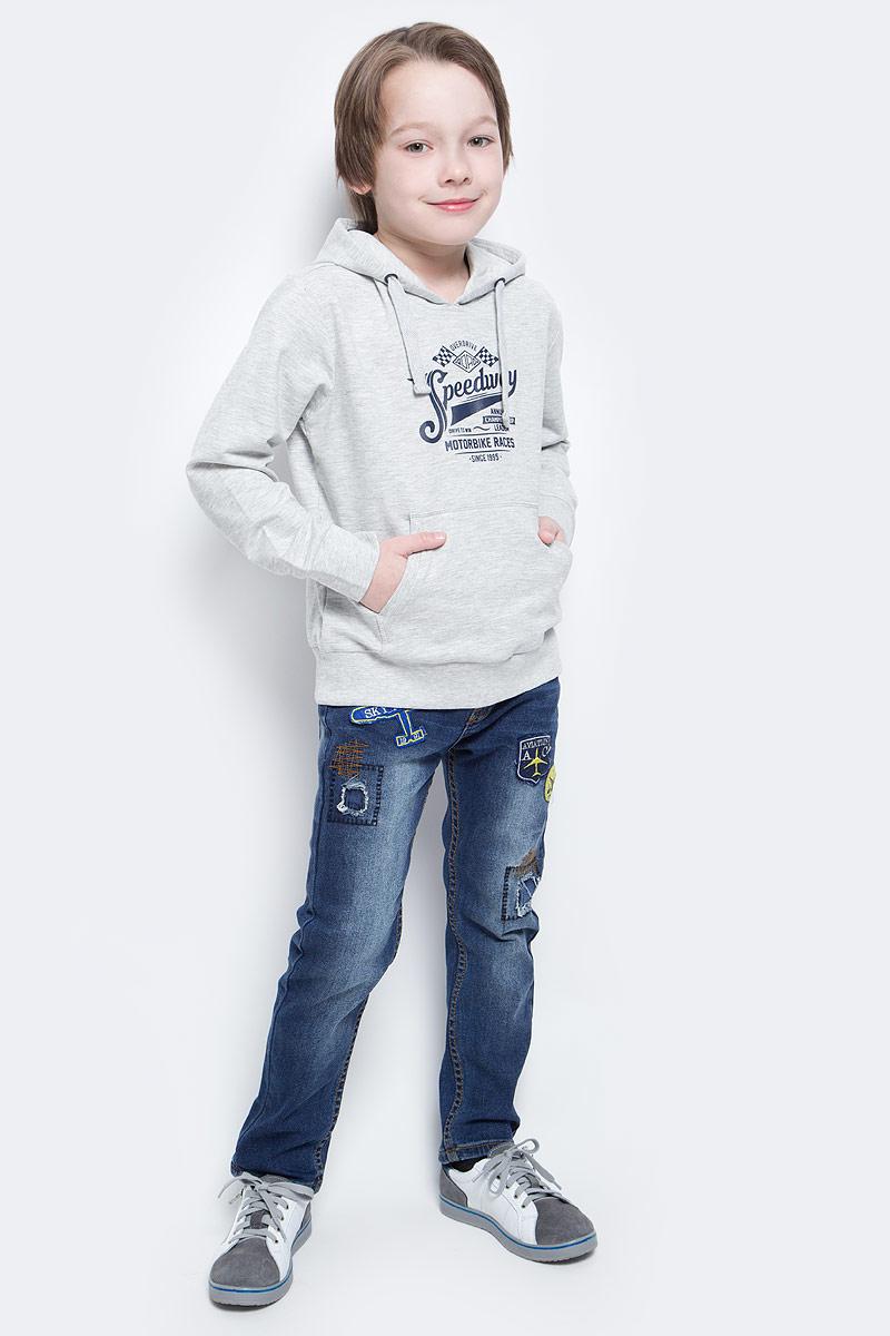 Худи для мальчика Sela, цвет: бледно-серый меланж. St-813/175-7132. Размер 146, 11 летSt-813/175-7132Удобное худи для мальчика Sela выполнено из натурального хлопка и оформлено контрастным принтом с надписями. Модель прямого кроя с карманом-кенгуру и капюшоном на шнурке подойдет для прогулок и занятий спортом. Мягкая ткань комфортна и приятна на ощупь. Манжеты рукавов и низ изделия дополнены эластичными трикотажными резинками.