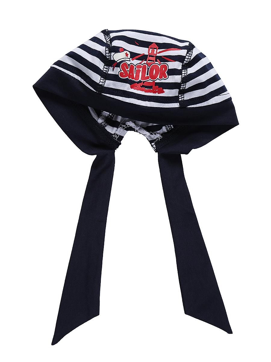 Бандана для мальчика Sweet Berry Baby, цвет: темно-синий, белый. 711078. Размер 52711078Удобная бандана для мальчика Sweet Berry, изготовленная из качественного эластичного хлопка, защитит голову ребенка от солнца и сильного ветра. Эластичные плоские швы обеспечивают максимальный комфорт при носке.Бандана оформлена принтом в полоску и аппликацией и фиксируется на голове широкими завязками.Уважаемые клиенты!Размер, доступный для заказа, является обхватом головы.