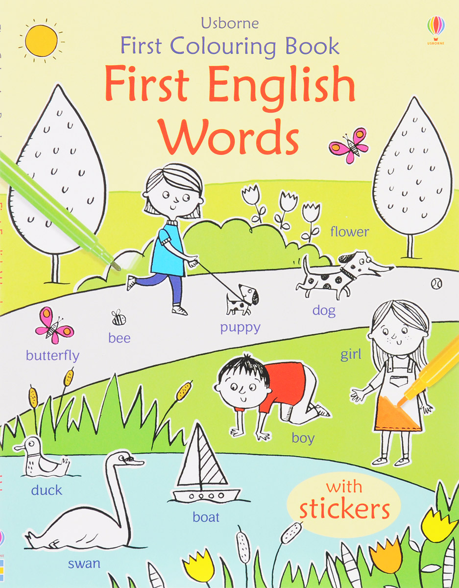 First Colouring Book First English Words (+ steakers) first hundred words in english sticker book