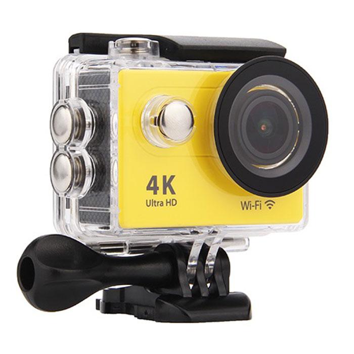 Eken H9R, Yellow экшн-камераH9R YELLOWЭкшн-камера Eken H9R Ultra HD позволяет записывать видео с разрешением 4К и очень плавным изображением до 30 кадров в секунду. Камера оснащена 2 TFT LCD экраном. Эта модель сделана для любителей спорта на улице, подводного плавания, скейтбординга, скай-дайвинга, скалолазания, бега или охоты. Снимайте с руки, на велосипеде, в машине и где угодно. По сравнению с предыдущими версиями, в Eken H9R Ultra HD вы найдете уменьшенные размеры корпуса, увеличенный до 2-х дюймов экран, невероятную оптику и фантастическое разрешение изображения при съемке 30 кадров в секунду!Управляйте вашей H9R на своем смартфоне или планшете. Приложение Ez iCam App позволяет работать с браузером и наблюдать все то, что видит ваша камера. В комплекте с камерой идет пульт ДУ работающий на частоте 2,4 ГГц. Он позволяет начинать и заканчивать съемку удаленно.