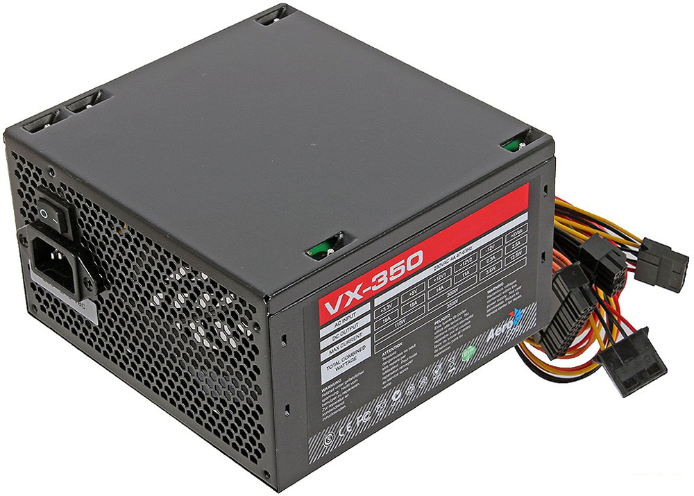 Aerocool VX-350W блок питания для компьютера4713105953534Aerocool VX-350W - это эффективный, надёжный и недорогой блок питания с низким уровнем шумов и помех.Блоки питания линейки VX - самые доступные в ассортименте Aerocool и предназначены для систем начального уровня. Они собраны извысококачественных компонентов и обеспечивают стабильное инадёжное питание для всего системного блока.Хотя устройства линейки VX предназначены для сборки системначального уровня, Aerocool снабдила их всем необходимым. БП VX работает без шумов и помех, защищён от перепадов напряжения в сети и оборудован 12-см вентилятором с умным управлением скоростью вращения.