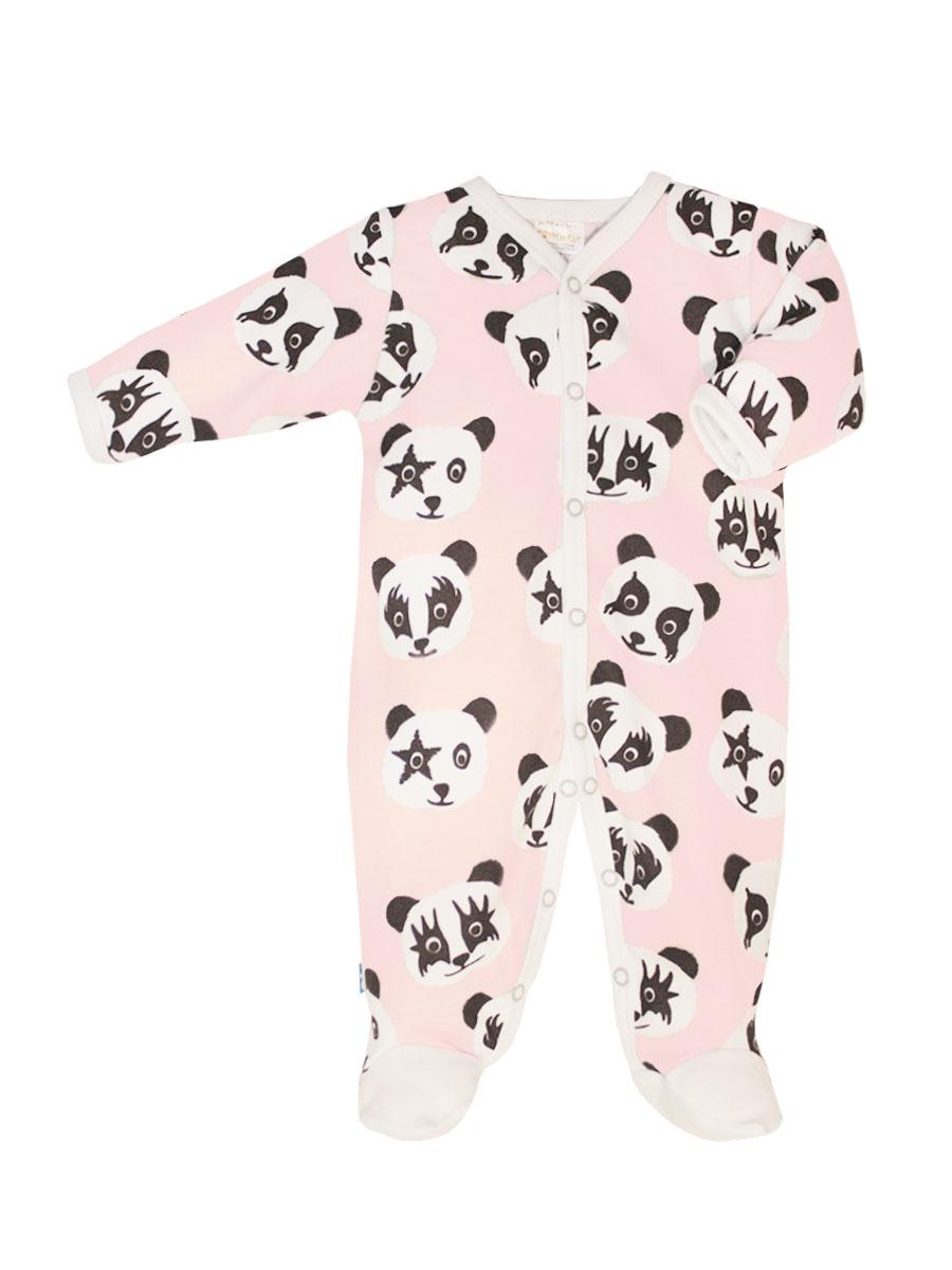 Комбинезон домашний для девочки КотМарКот, цвет: cветло-розовый, черный, белый. 6222. Размер 86