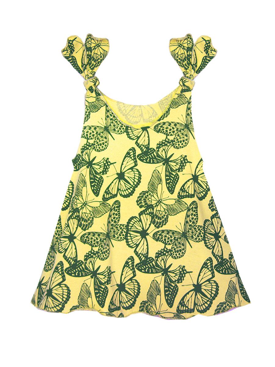 Платье для девочки КотМарКот, цвет: желтый, темно-коричневый. 21402. Размер 10421402Платье КотМарКот выполнено из натурального хлопка, приятного на ощупь. Модель с круглым воротником без рукавов оформлена оригинальным принтом и сборкой.