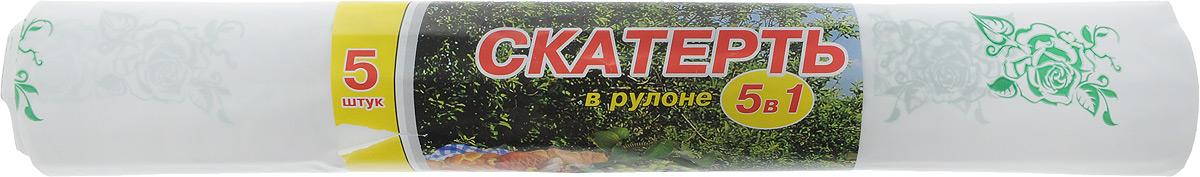 """Скатерть Артпласт """"Розочки"""", цвет: зеленый, белый, 900 х 110 см"""