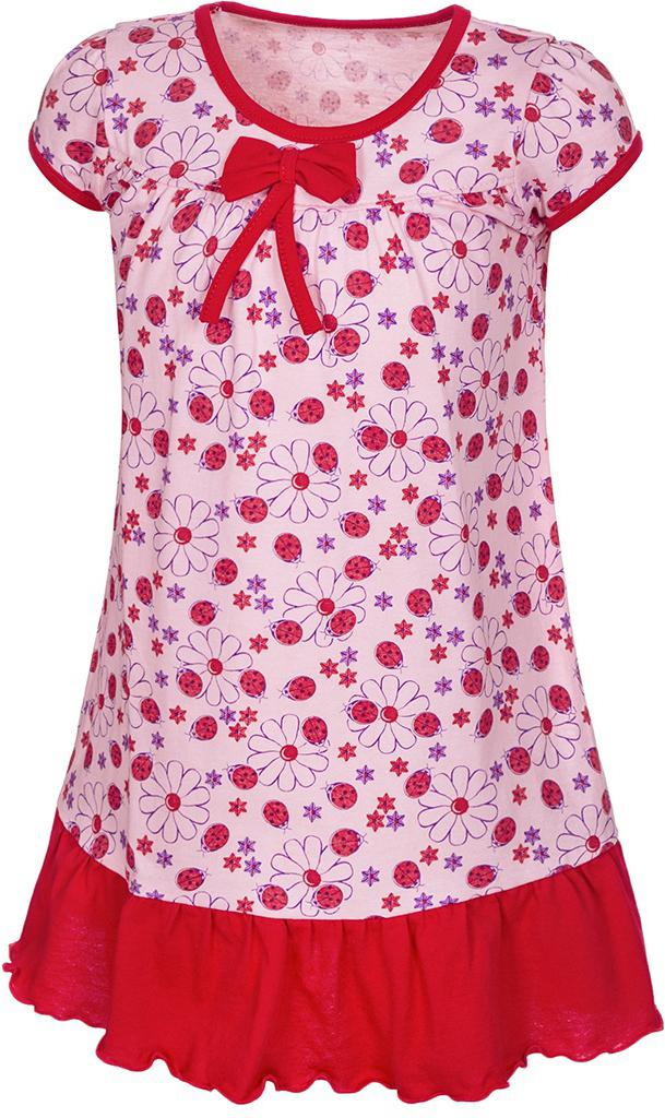Платье для девочек M&D, цвет: розовый, красный, фиолетовый. ПЛ7030205. Размер 116ПЛ7030205Платье для девочки M&D станет отличным вариантом для прогулок на свежем воздухе. Изготовленное из мягкого хлопка, оно тактильно приятное, хорошо пропускает воздух. Платье с круглым вырезом горловины и короткими рукавами дополнено мелким ярким принтом. По подолу платье оформлено рюшами, а вырез горловины и края рукавов обшиты бейкой. На груди платье украшает текстильный бант.Рюши, бейка и бант имеют однотонный яркий цвет, делая дизайн еще более радостным и узнаваемым.