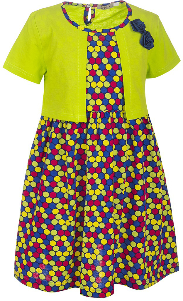 Платье для девочки M&D, цвет: салатовый, черный, мультиколор. SJD27032M25. Размер 110SJD27032M25Платье для девочки M&D станет отличным вариантом для прогулок или праздников. Изготовленное из мягкого хлопка, оно тактильно приятное, хорошо пропускает воздух. Платье с круглым вырезом горловины и короткими рукавами-фонариками застегивается по спинке на пуговицу. От линии талии заложены складочки, придающие платью пышность. Изделие оформлено принтом в разноцветный горошек и украшено бутончиками из атласной ленты. Отделка и расцветка модели создают эффект 2 в 1 - платья с жакетом.