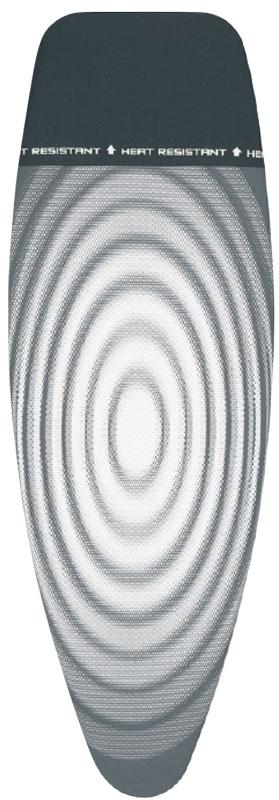 Чехол для гладильной доски Brabantia Parking Zone. Титановые круги, с термозоной, 2 мм, 135 х 45 см. 266782266782Идеальная поверхность для глажения и отпаривания. Плавное скольжение утюга – верхний чехол из 100% хлопка. Удобное глажение – подкладка из 2 мм поролона для упругости. Термоустойчивая зона для установки горячего утюга во время глажения (до 220°С). Удобная фиксация на доске и отличное натяжение чехла – затягивающий шнур и стяжки. Термоустойчивая зона используется для кратковременной установки утюга. Цветовая маркировка позволяет быстро и точно подобрать нужный чехол.
