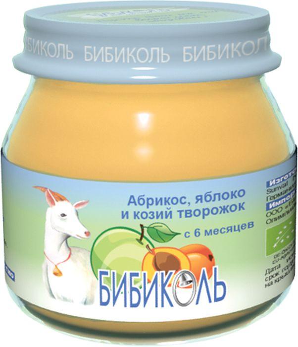 Бибиколь пюре абрикос, яблоко и козий творожок, с 6 месяцев, 80 г пюре мамако пюре яблоко и козий творожок с 6 мес 80 г