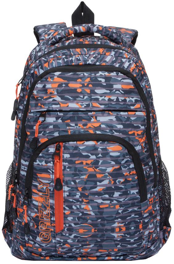 Рюкзак городской мужской Grizzly, цвет: черный, синий. RU-707-2/4 рюкзак городской мужской grizzly цвет красный ru 715 2 3