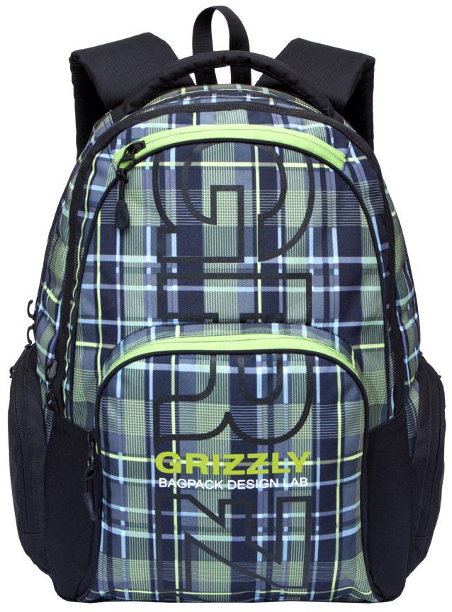 Рюкзак городской Grizzly, цвет: черный, оливковый. RU-709-2/1 рюкзак городской grizzly цвет черный желтый 22 л ru 603 1 2