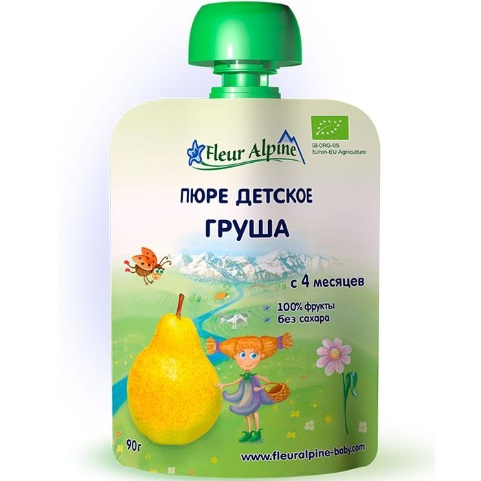 Fleur Alpine Organic пюре груша, с 4 месяцев, 90 г fleur alpine organic с какао печенье детское с 9 месяцев 150 г