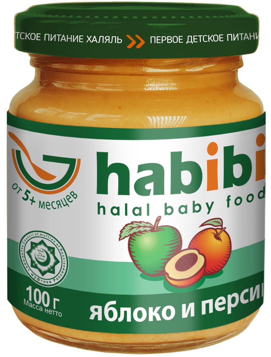 Habibi пюре яблоко и персик с сахаром, 100 г4610015300031Двухкомпонентные фруктовые пюре habibi - это пюре, которые производятся в соответствии с жестким требованиями халяль, касающимся производства продуктов питания. То, чем часто злоупотребляют некоторые производители - под строжайшим запретом. Статус habibi подтвержден документально, т.к. продукция сертифицирована в СДС Халяль. Пюре прекрасно подходят для начала прикорма. Благодаря нежной консистенции малышу будет легко кушать пюре, а специально отобранные сорта яблок и ароматных персиков делают вкус продукта нежным и приятным для ребенка. Состав пюре полностью натурален: в нем нет ГМО, крахмала и других загустителей, красителей, ароматизаторов, консервантов. habibi - первое детское питание халяль! Продукт изготовлен согласно ГОСТ 32218-2013. Рекомендуется для детей старше 5 месяцев.Пищевая ценность на 100 г продукта (средние значения): белки – 0,5 г., углеводы – 13,0 г., пищевые волокна – 1,7 г., калий – 140 мг. Рекомендации по употреблению: для детей старше 5 месяцев начинайте с 1 чайной ложки 2 раза в день, постепенно увеличивая порцию до 50-80 г в день к 6 месяцам. Перед употреблением необходимое количество подогреть до температуры кормления на водяной бане, перемешать. Повторно подвергать продукт термической обработке нельзя. Чтобы предотвратить повреждение банки, не используйте металлическую ложку. Не используйте, если у ребенка аллергия на какой-либо компонент в составе данного продукта.Не используйте продукт, если при открытии крышки не произошло щелчка! Внимание! При транспортировке может произойти нарушение герметичности упаковки. Попробуйте продукт перед кормлением ребенка.