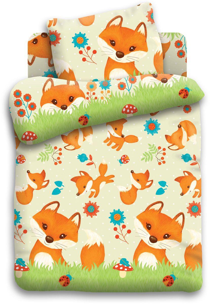 Кошки-мышки Комплект детского постельного белья Лисята цвет зеленый 3 предмета