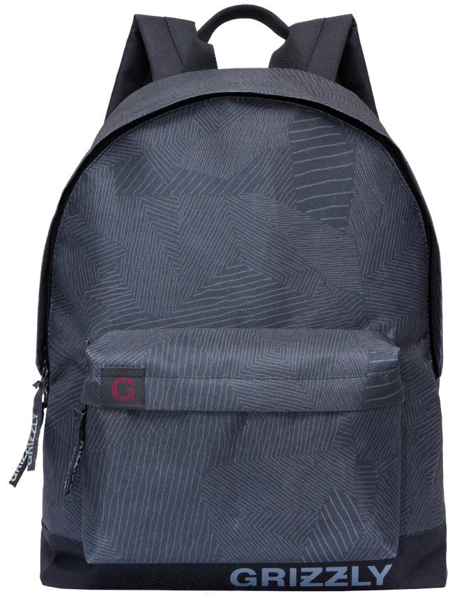 Рюкзак городской Grizzly, цвет: черный, серый. RU-709-3/3RU-709-3/3Рюкзак городской Grizzl выполнен из высококачественного нейлона в сочетании с полиэстером и оформлен оригинальным принтом. Рюкзак имеет ручку-петлю для подвешивания и двеудобные лямки, длина которых регулируется с помощью пряжек. Модель имеет одно основноеотделение на молнии, с внутренним подвесным карманом. Передняя сторона оформленаобъемным карманом на застежке-молнии. Тыльная сторона рюкзака имеет укрепленную спинку.