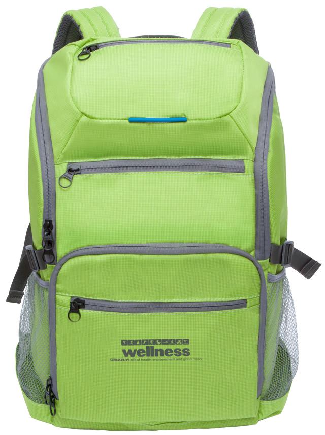 Рюкзак спортивный мужской Grizzly, цвет: светло-зеленый. RU-710-1/2RU-710-1/2Спортивный рюкзак Grizzl выполнен из высококачественного нейлона. Рюкзак имеет ручку-петлю для подвешивания и две удобные лямки, длина которых регулируется с помощью пряжек. Модель имеет одно основное отделение, которое оснащено внутренним карманом для гаджета и карманом на молнии. Верхней части рюкзака находятся карман быстрого доступа, а также передняя стенка дополнена двумя втачными карманами на застежке-молнии и карманом для обуви. На боковых стенках расположены открытые кармашки без застежки. Тыльная сторона спортивного рюкзака выполнена с анатомической спинкой и боковыми стяжками-фиксаторами.