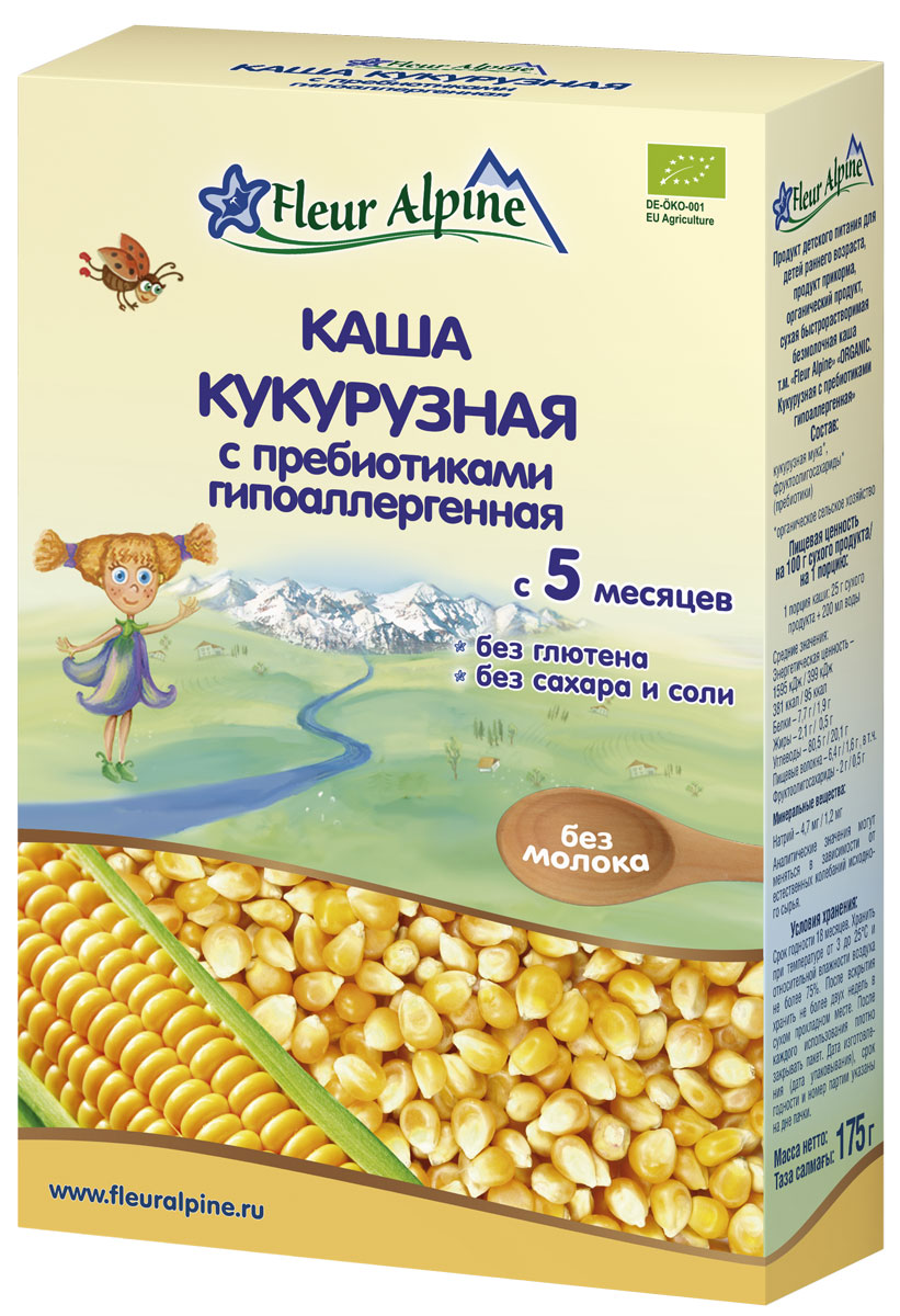 Fleur Alpine Organic каша безмолочная кукурузная с пребиотиками гипоаллергенная, с 5 месяцев, 175 г fleur alpine organic 3 злака каша безмолочная с 6 месяцев 175 г