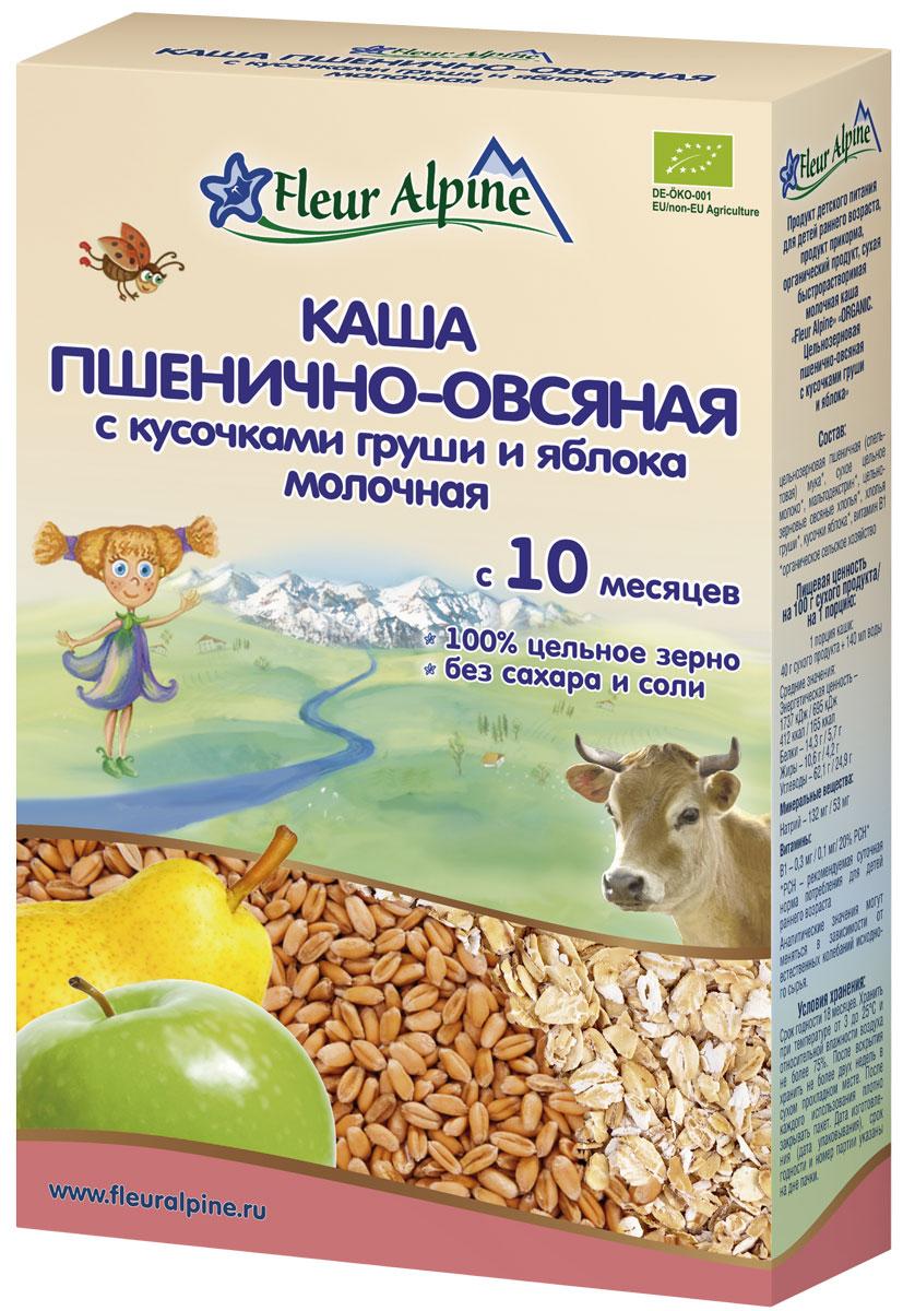 Fleur Alpine Organic каша молочная пшенично-овсяная с кусочками груши и яблока, с 10 месяцев, 200 г