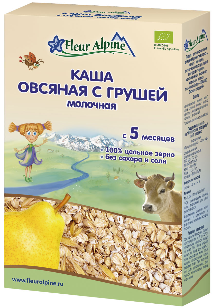 Fleur Alpine Organic каша молочная овсяная с грушей, с 5 месяцев, 200 г bebi премиум каша овсяная молочная с 5 месяцев 250 г