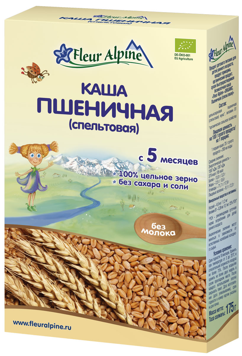 Fleur Alpine Organic каша безмолочная пшеничная (спельтовая), с 5 месяцев, 175 г4006303632050Спельта – древний сорт пшеницы, который никогда не подвергался селекции и сохранил свои первозданные полезные свойства. Особое строение колоса надежно защищает спельту от вредителей и неблагоприятных внешних факторов. Спельта имеет более высокую пищевую ценность по сравнению с обычной пшеницей. Она богаче белком, ненасыщенными жирными кислотами, микроэлементами и клетчаткой. Питательные вещества равномерно распределены по всему зерну и сохраняются даже при очень тонком помоле. Спельтовая каша имеет нежную консистенцию и восхитительный вкус, хорошо усваивается.