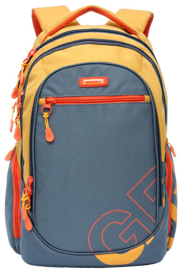 Рюкзак городской Grizzly, цвет: серый, оранжевый. RU-711-2/3 рюкзаки grizzly рюкзак