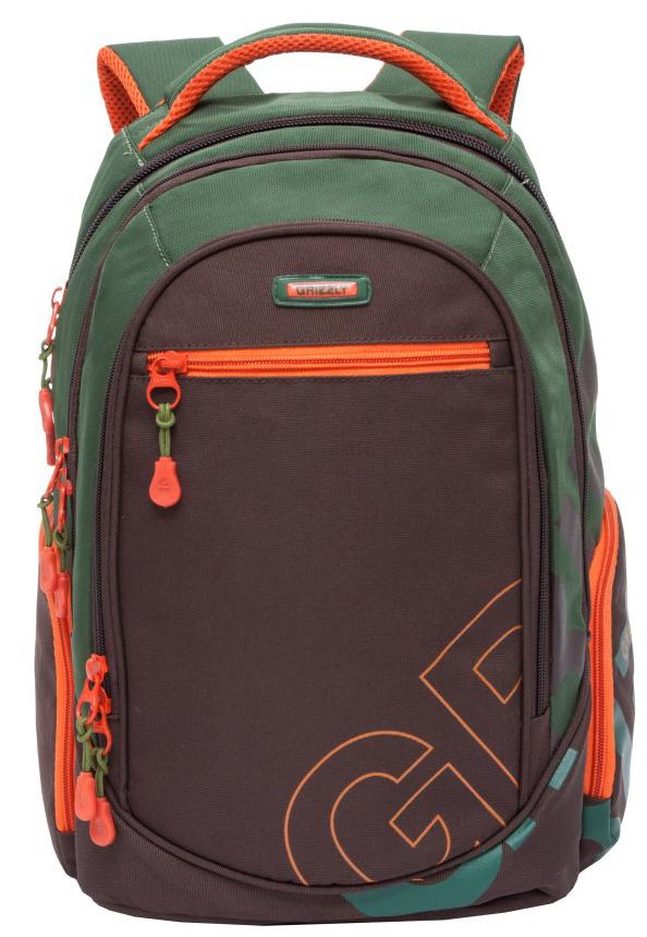 Рюкзак городской мужской Grizzly, цвет: зеленый, коричневый. RU-711-2/4 рюкзак городской мужской grizzly цвет красный ru 715 2 3