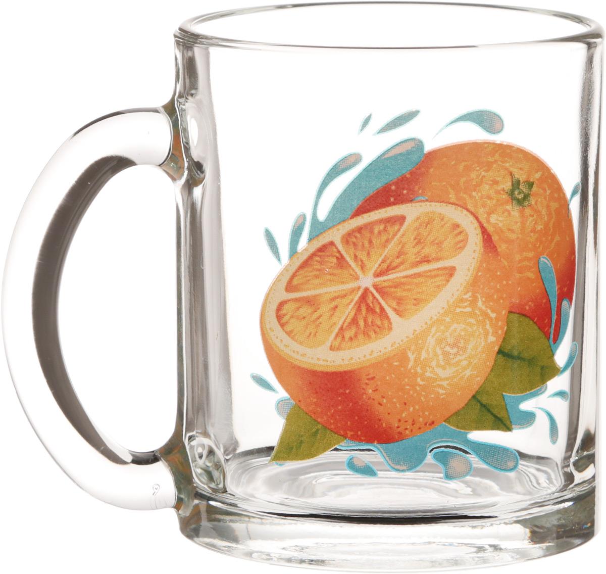 """Кружка OSZ """"Чайная. Апельсин"""" изготовлена из стекла и декорирована принтом. Диаметр (по верхнему краю): 7,5 см. Высота: 9,5 см."""