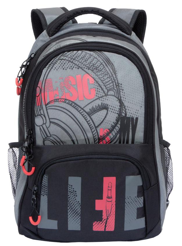 Рюкзак городской мужской Grizzly, цвет: черный, серый, красный. RU-715-1/3 рюкзак городской мужской grizzly цвет красный ru 715 2 3