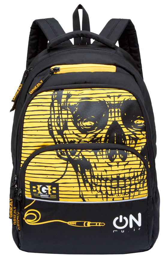 Рюкзак городской мужской Grizzly, цвет: черный, желтый. RU-715-2/1 рюкзак городской мужской grizzly цвет красный ru 715 2 3