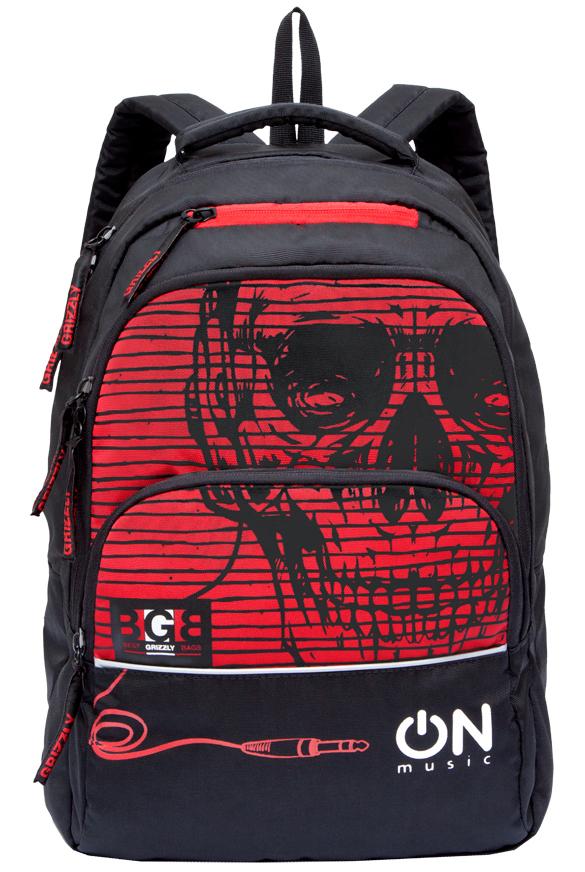 Рюкзак городской мужской Grizzly, цвет: черный, красный. RU-715-2/3 рюкзак городской мужской grizzly цвет красный ru 715 2 3