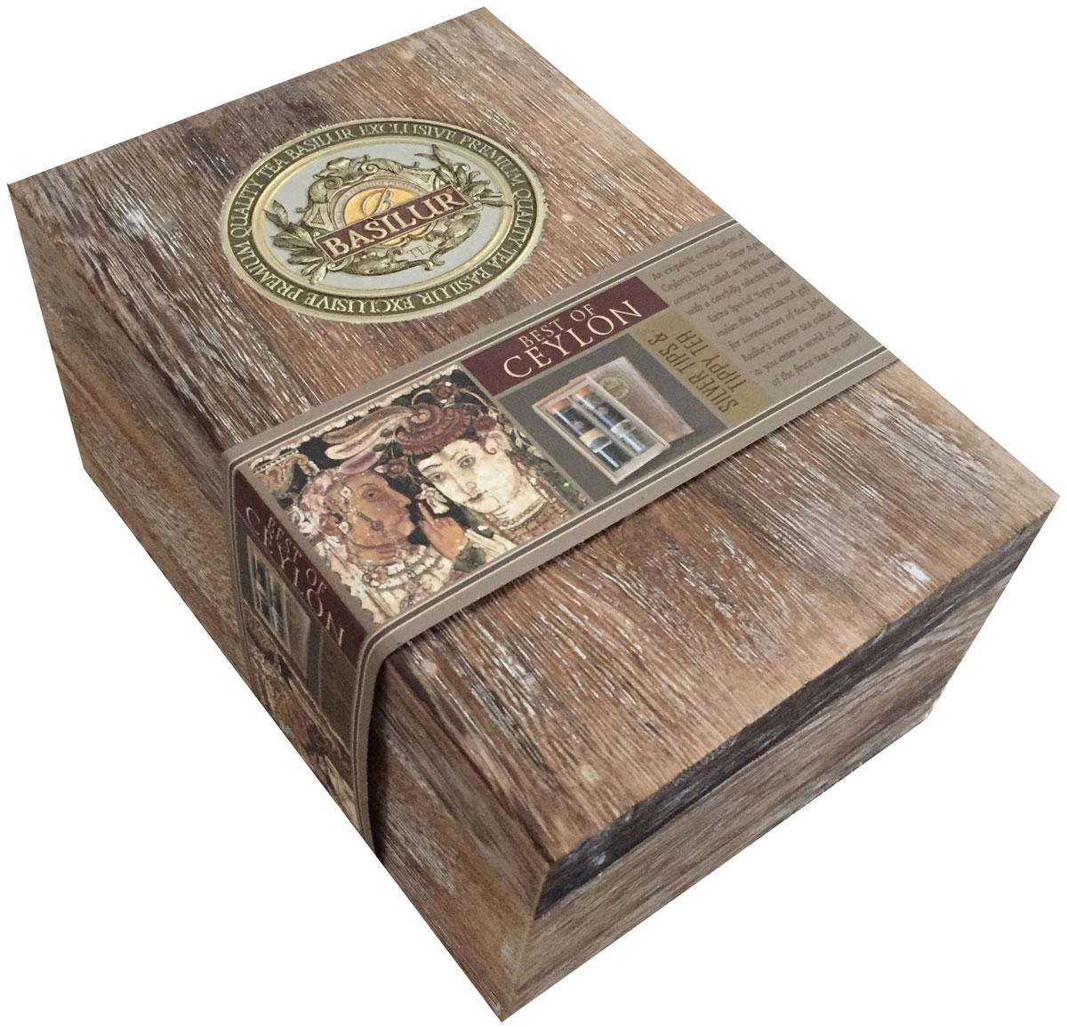 Basilur Павлония белый и черный чай подарочная шкатулка, 100 г71323-00Basilur представляет ограниченную серию, в которой воплощен весь уникальный опыт по созданию чая высочайшего класса. Уникальность серии заключается в использовании Серебряных Типсов и эксклюзивного сорта FBOPF ExSp, представленного только на о. Шри-Ланка. Серебряные типсы, также известные как белый чай – это еще не раскрывшиеся чайные почки, собранные вручную и высушенные на солнце, содержащие большое количество полифенолов. Сорт чая BFOPF ExSp - это воплощение роскоши в чайной индустрии, сочетание сильно закрученных чайных листьев и типсов. Чайный набор представлен в подарочной упаковке - чай в эксклюзивных стеклянных цилиндрах вложен в красиво оформленные миниатюрные деревянные коробочки Paulownia. Это по-настоящему инновационный продукт от Basilur, который сделает ваш подарок идеальным для любого случая!Чай в стеклянный цилиндрах, упакованный в деревянную коробку.