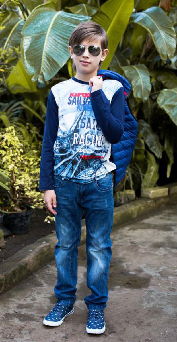 Джинсы для мальчика Luminoso, цвет: синий. 717004. Размер 134717004Джинсы для мальчика Luminoso имеют прямой крой. В боковой части пояса находятся вшитые эластичные ленты, регулирующие посадку по талии.