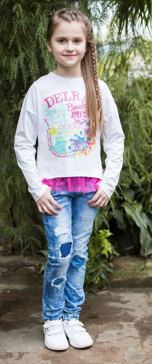 Футболка для девочки Luminoso, цвет: белый. 718003. Размер 134718003Стильная футболка из трикотажной, мягкой ткани для девочки, с длинным рукавом. Декорирована ярким принтом и кружевом по низу изделия.