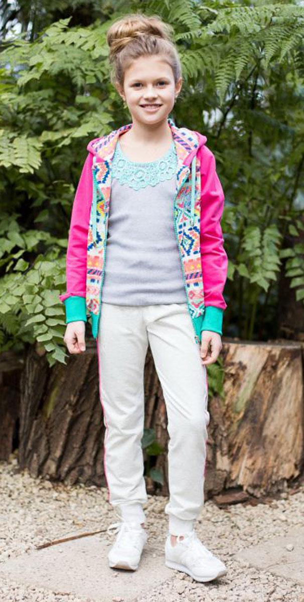 Майка для девочки Luminoso, цвет: серый меланж. 718014. Размер 140718014Майка-топ для девочки. Горловина декорирована кружевным плетением.