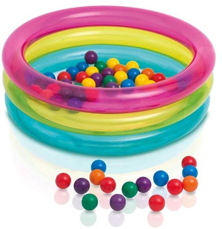 Intex Детский надувной бассейн Классический с шарикамис48674Детский надувной бассейн Intex Классический с шариками - надувной центр служит сухим бассейном. Он так же отлично справится с ролью манежа для самых маленьких. Надувной бассейн состоит из трех надувных колец, каждое из которых, имеет собственный клапан для надува. Детский игровой центр предназначен специально для веселого и безопасного времяпрепровождения. Высокие мягкие бортики смогут защитить ребенка от травм. Играть будет еще увлекательнее и забавнее благодаря разноцветным мячикам, которые поставляются вместе с игровым центром. Качественный материал игрового центра, обеспечивает полную безопасность, прочность и долговечность.Такой универсальный детский центр будет отличной игровой площадкой для ребенка.Его можно использовать в помещении как сухой бассейн, но и отличный вариант для игр на свежем воздухе. Ребенок получит множество положительных эмоций от игры и всегда будет занят любимым делом! Дно не надувается, сделано из упрочненного винила.